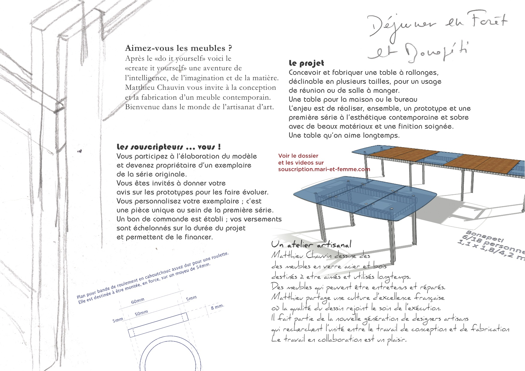 dessin de conception de la table de salle à manger